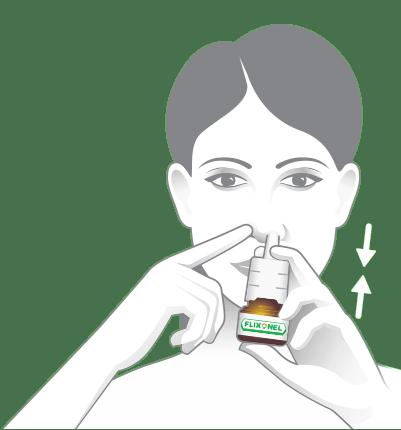 Ukážka nasmerovania fľaštičky v nose