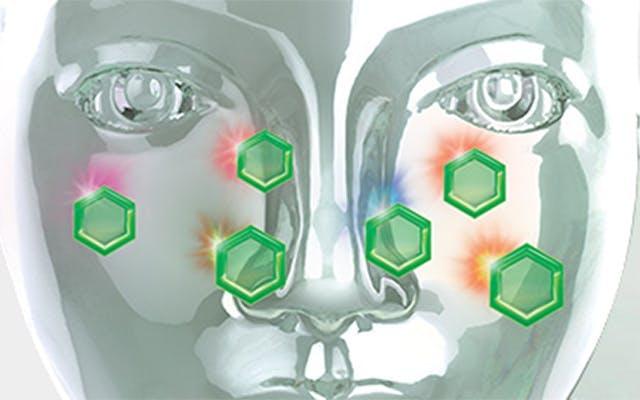 sklenená hlava s alergénmi