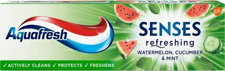 Aquafresh Senses Refreshing toothpaste fruity green packaging.