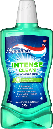 Aquafresh Intense Clean mouthwash with transparent packaging revealing green mouthwash and a blue/green label.