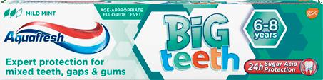 Aquafresh Big Teeth toothpaste mint green packaging.