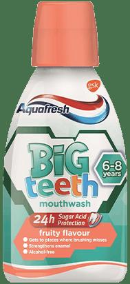 Aquafresh my Big Teeth  mouthwash in a playful packaging.