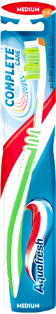 Aquafresh Intense Clean medium toothbrush in silver/white colour combination with Aquafresh colors on the packaging.