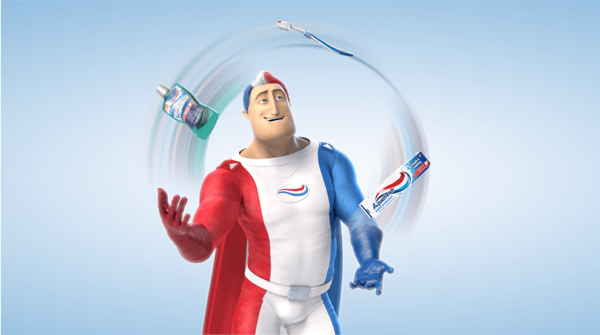Captain Aquafresh skillfully juggling a mouthwash, a toothpaste and a toothbrush.