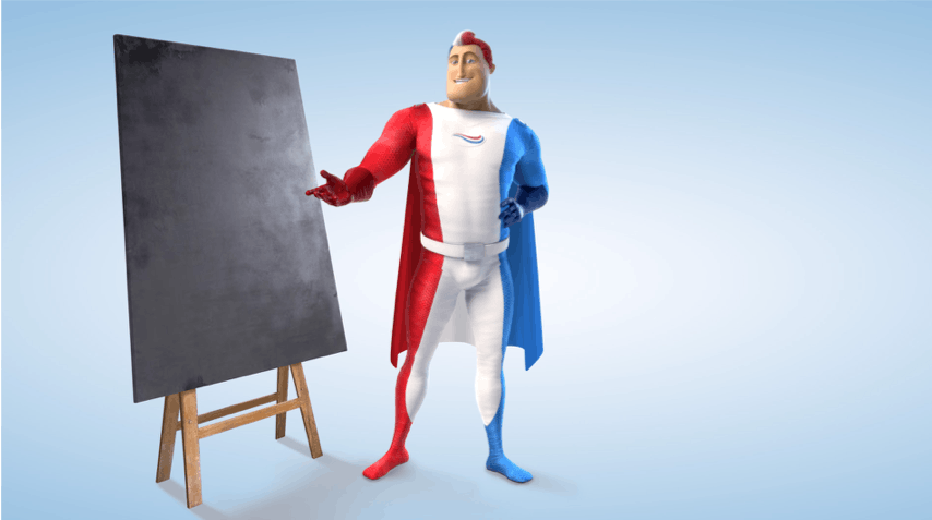 Captain Aquafresh standing near a blank chalk board and pointing to it.