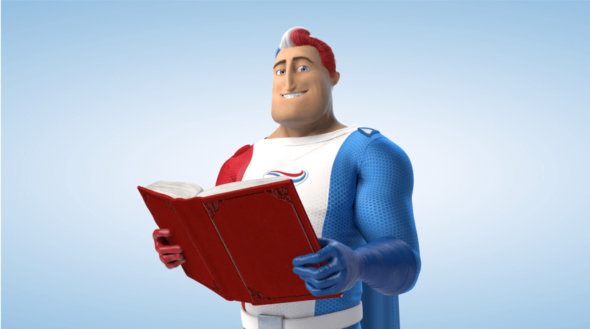Captain Aquafresh reading with a smile on his face.
