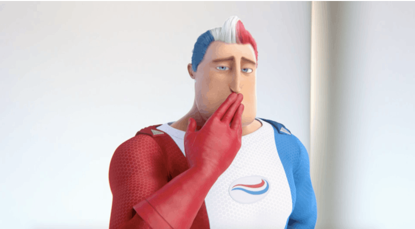 Captain Aquafresh covering his mouth with a slightly embarassed facial expression.