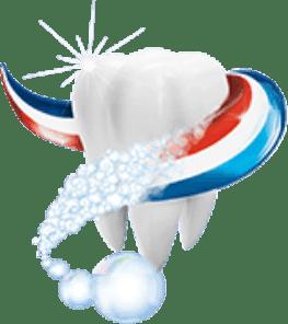 Ein Zahn, der mit Odol-med3 Streifen gereinigt wird.