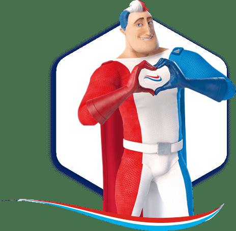 Der Superheld von Odol-med3 mit seinen Händen ein Herz formend.