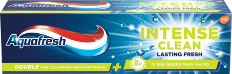 Aquafresh Intense Clean Lasting Fresh toothpaste blue packaging with bright green accent.