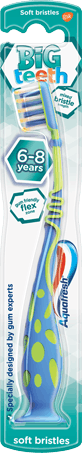 Aquafresh Big Teeth toothbrush with a playful blue/green design and mint green packaging.