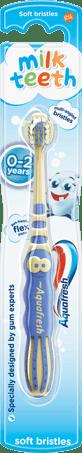 Aquafresh Milk Teeth toothbrush with a playful blue/beige design and light blue packaging.