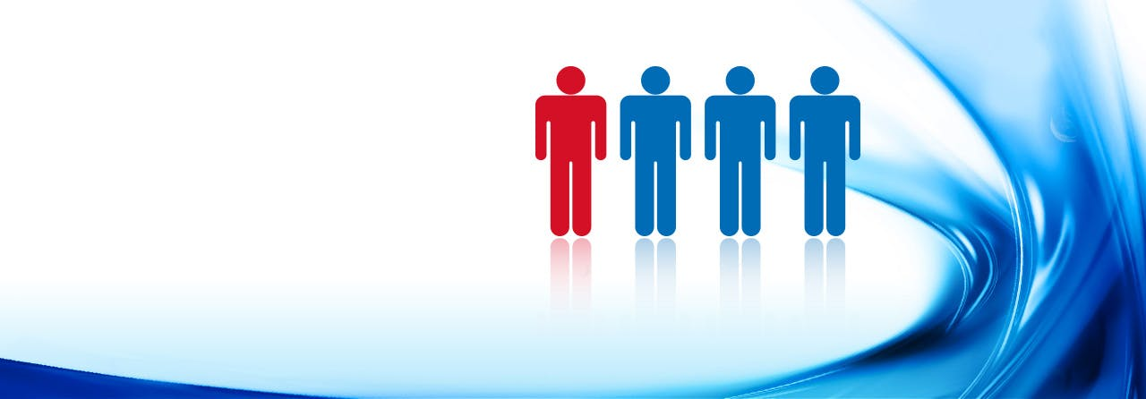One in four people icon with blue background