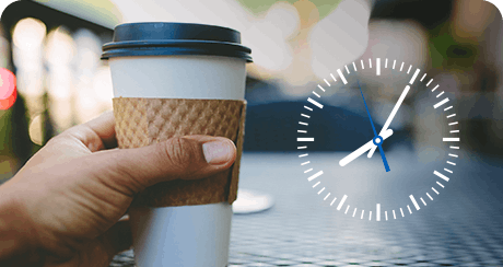 coffee cup with day timer