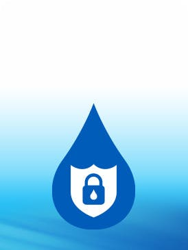Water drop icon with lock inside