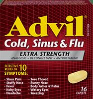 Advil Cold, Sinus Flu Extra Strength package design
