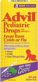 Advil Pediatric Drops Fever from Colds or Flu package design