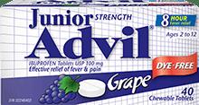 Junior Strength Advil package design