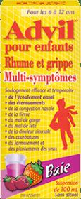 Suspension Advil pour enfants Rhume et Grippe Multi-symptômes package design