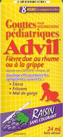 Gouttes pédiatriques Advil Fièvre due au rhume ou à la grippe package design