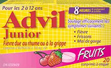 Comprimés à croquer Advil Junior Fièvre due au rhume ou à la grippe package design