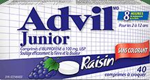 Comprimés à croquer Advil Junior package design