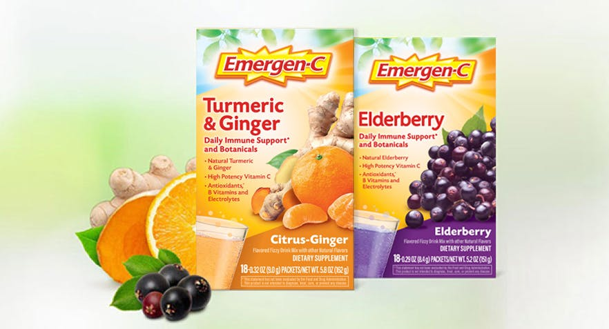 Turmeric & Ginger pack and Edelberry pack with fruits.