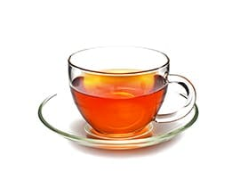 Orange Spice Tea in a clear teacup