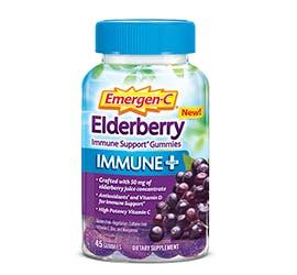 Bottle of Emergen-C  Immune+ Gummies Elderberry