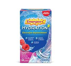 Box of Emergen-C Hydration Electrolyte Replenishment in Rasberry Splash
