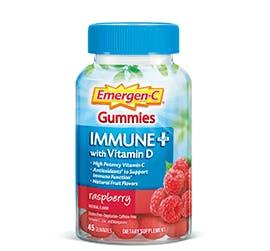 Bottle of Emergen-C  Immune+ Gummies Raspberry