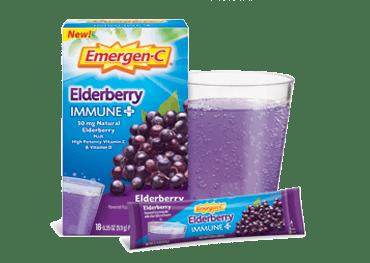 Box of Emergen-C Daily Immune Support Gummies and Botanicals in Immune+ Elderberry