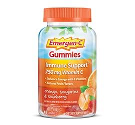 Bottle of Emergen-C Everyday Immune Support Gummies in Orange, Tangerine, & Raspberry