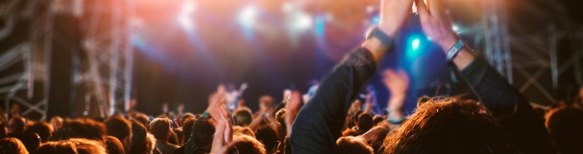 A crowd cheering at a concert