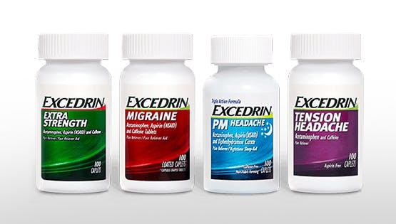 Excedrin product range pack shot