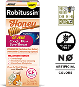 Robitussin Honey Maximum Strength Honey Severe Nighttime Cough, Flu + Sore Throat