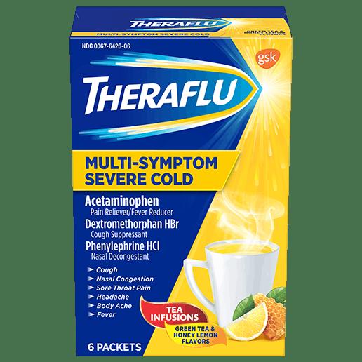 Box of Theraflu Multi-Symptom Severe Cold Hot Liquid Powder