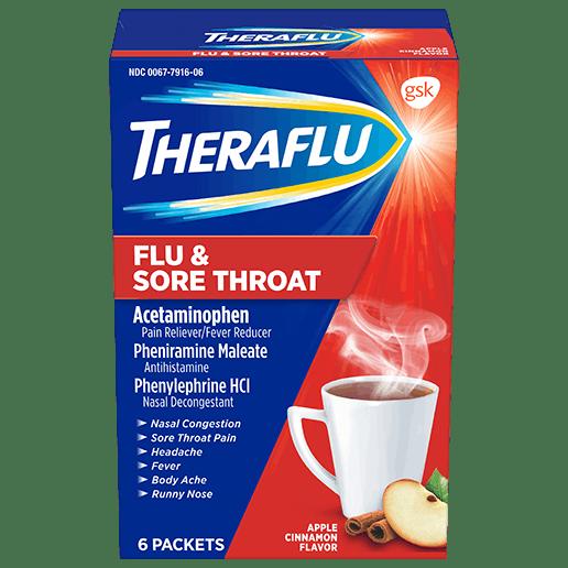 Box of Theraflu Flu & Sore Throat Hot Liquid Powder