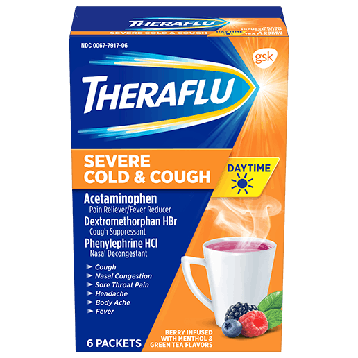 Box of Theraflu Daytime Severe Cold & Cough Hot Liquid Powder