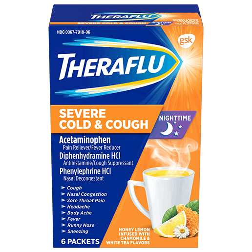 Box of Theraflu Nighttime Severe Cold & Cough Hot Liquid Powder Medicine