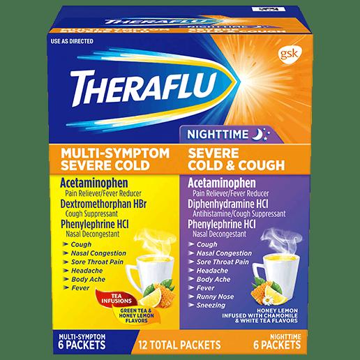 Box of Theraflu Day/Night Hot Liquid Powder Value Pack