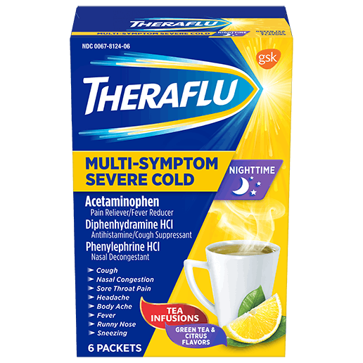 Box of Theraflu NighttimeMulti-Symptom Severe Cold Hot Liquid Powder