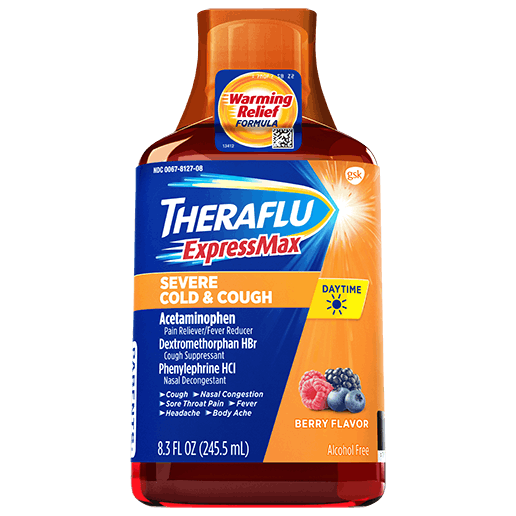 Bottle of Theraflu ExpressMax Daytime Severe Cold & Cough Syrup