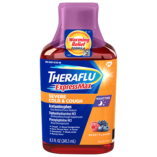 Bottle of Theraflu ExpressMaxNighttime Severe Cold & CoughSyrup