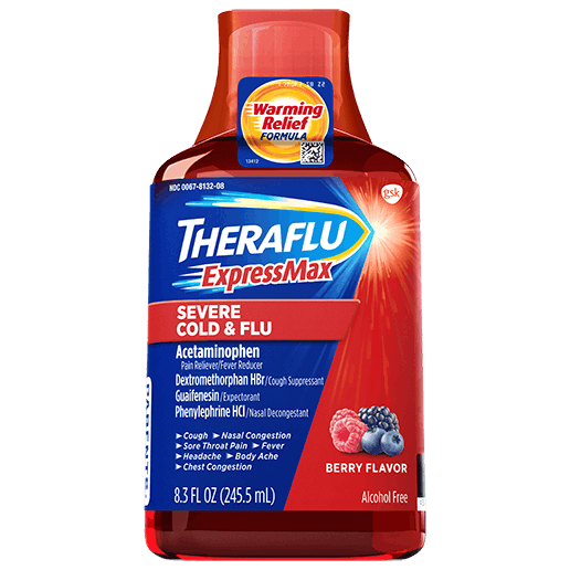 Bottle of Theraflu ExpressMax Severe Cold & Flu Syrup