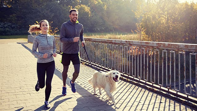 Healthy people jogging with dog