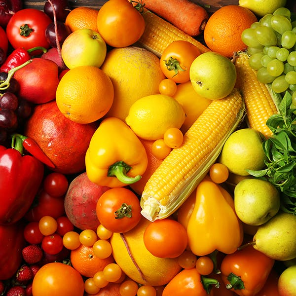 A close up of a variety of colourful vegetables.