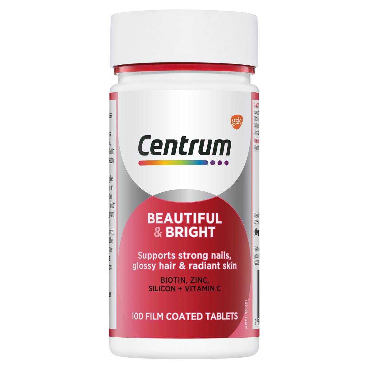 Bottle of Beautiful & Bright from the Centrum Benefits Blend (50 tablets).