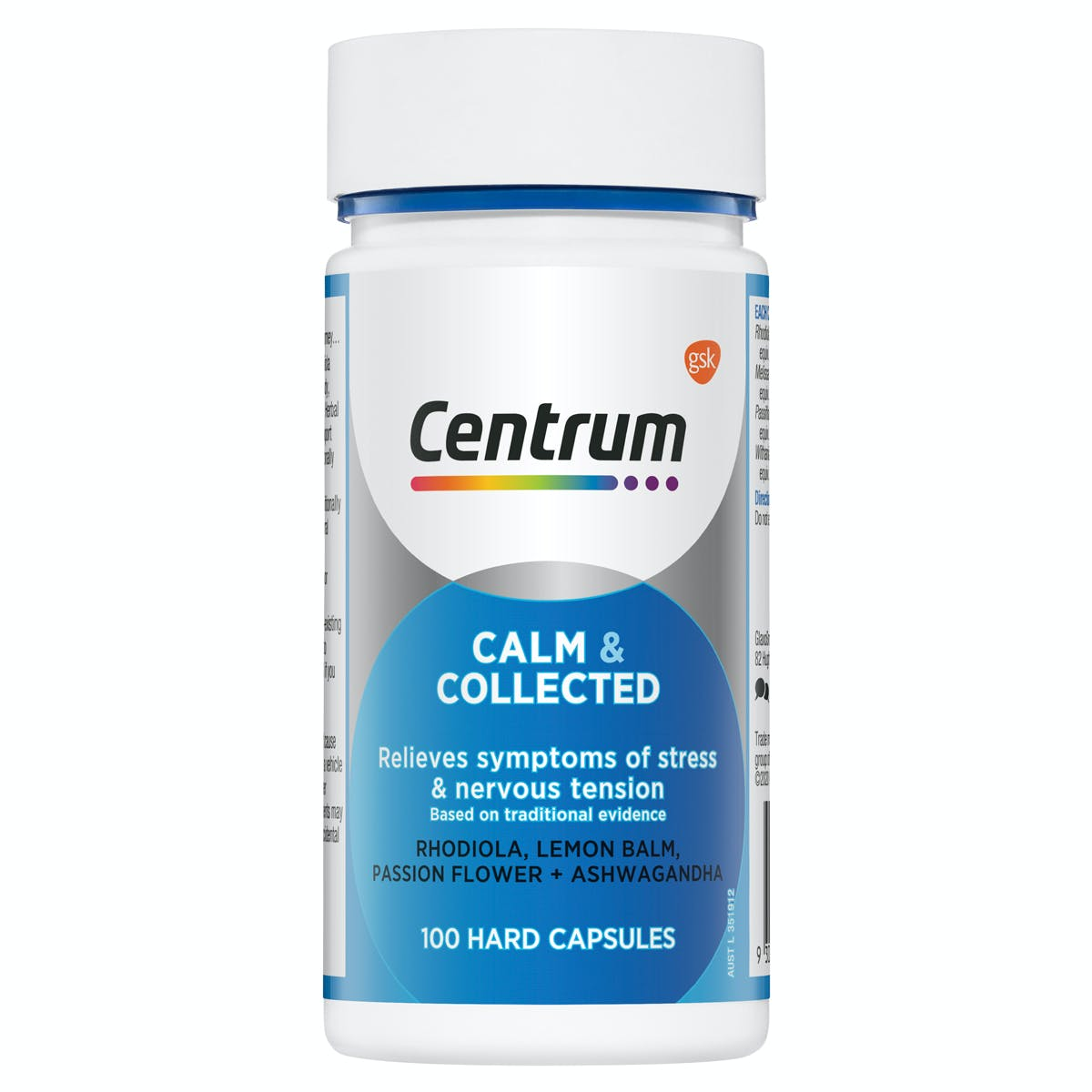 Bottle of Calm & Collected from the Centrum Benefits Blend (50 capsules)