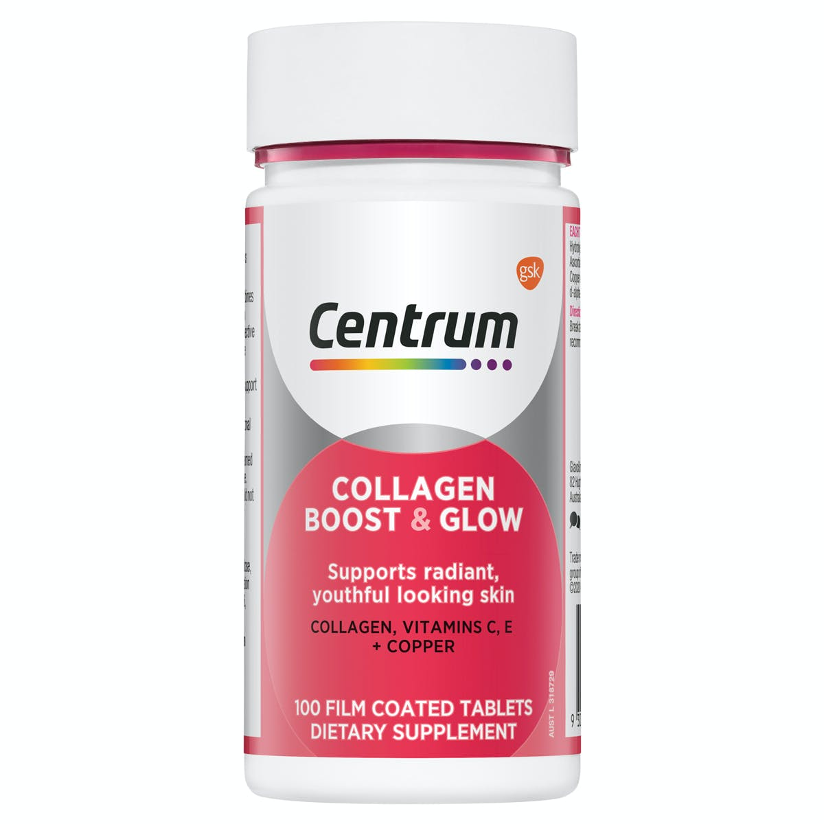 Bottle of Collagen Boost & Glow from the Centrum Benefits Blend (50 tablets).